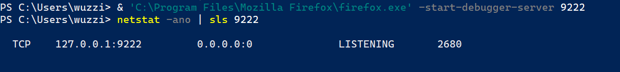PowerShell run Firefox with remote debugging